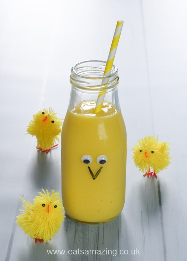 Super cute Easter chick smoothie recipe - fun healthy Easter recipe for kids