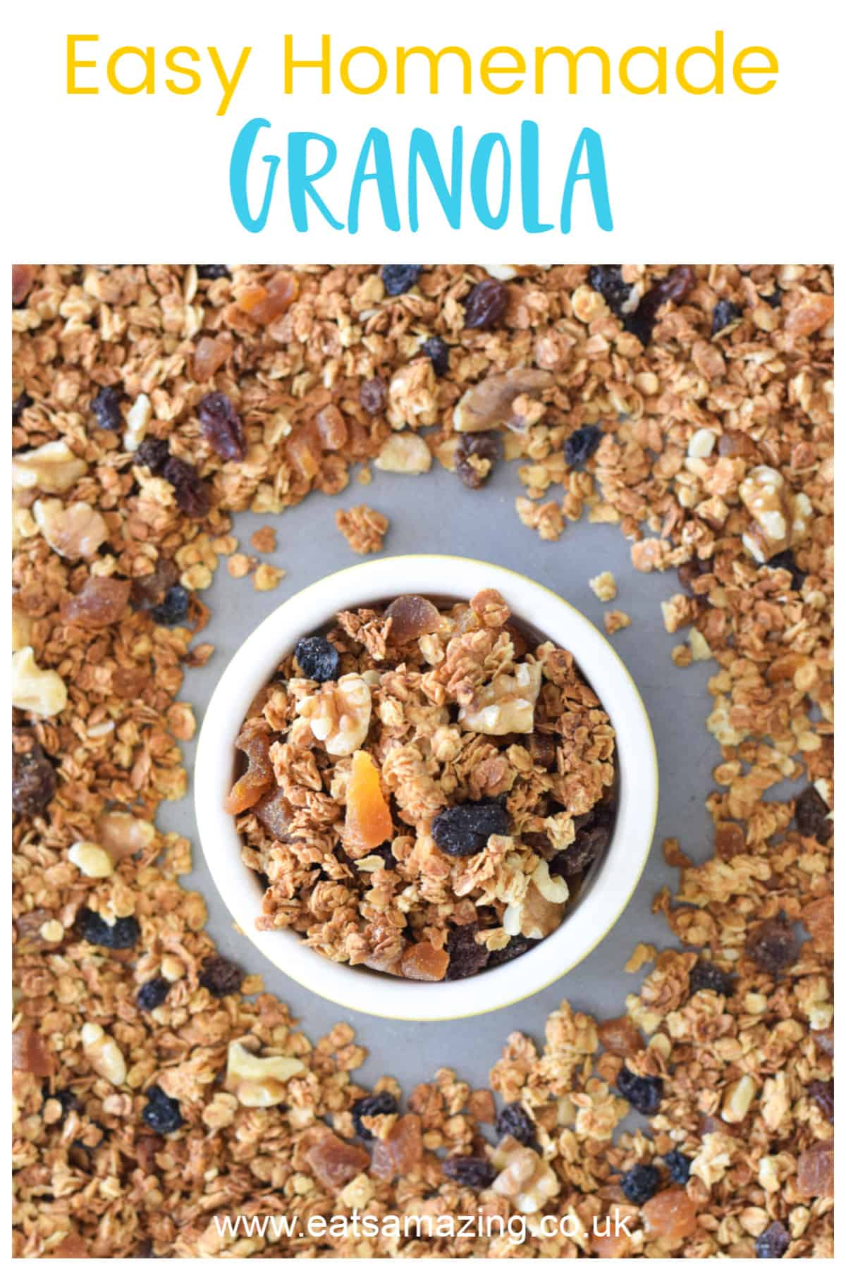 Super easy Granola recipe for kids - with child friendly recipe sheet and step by step photos