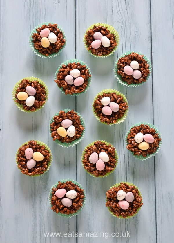 We've added mini eggs to the classic rice crispy cakes recipe for a fun Easter treat the whole family will love!