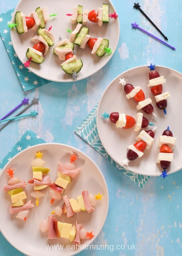 Child friendly fun and easy no-cook savoury skewer ideas for picnics parties and fun lunches for kids