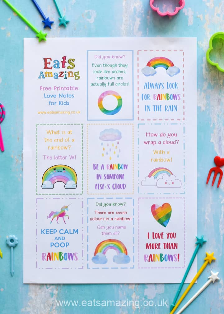Download and print your FREE Rainbow themed lunch notes for kids - with rainbow fun facts quotes and jokes