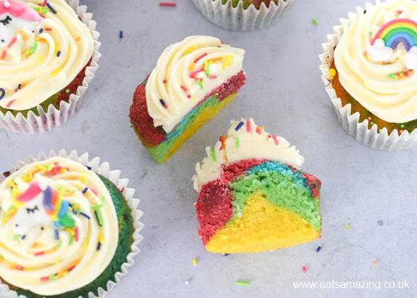 Easy rainbow themed cupcakes recipe with rainbow sprinkles