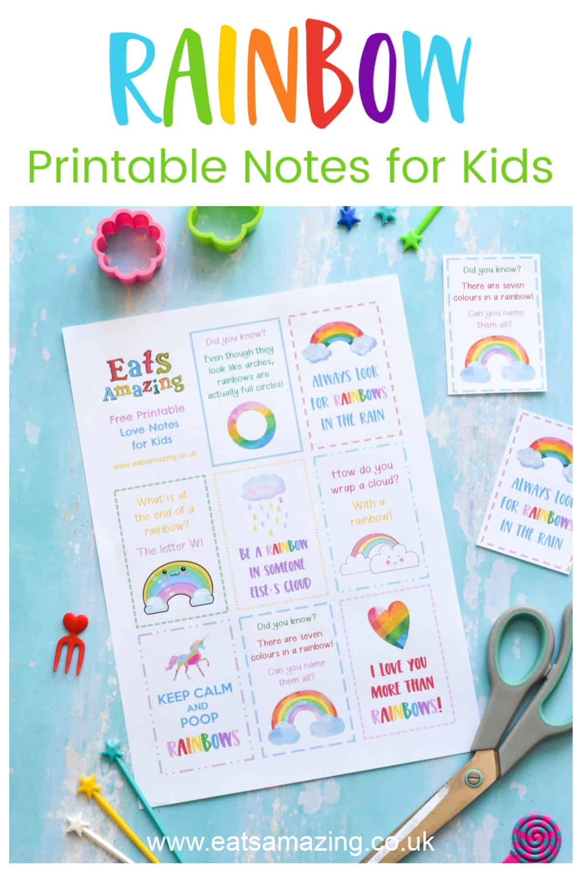 FREE Printable Rainbow themed notes for kids - perfect for lunch boxes school bags or hiding around the house for a fun surprise