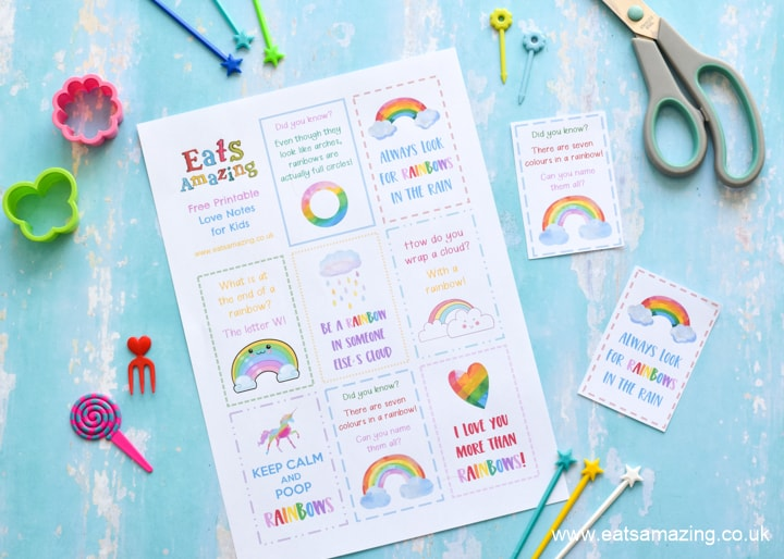 FREE Printable rainbow love notes for kids - with rainbow quotes facts and jokes