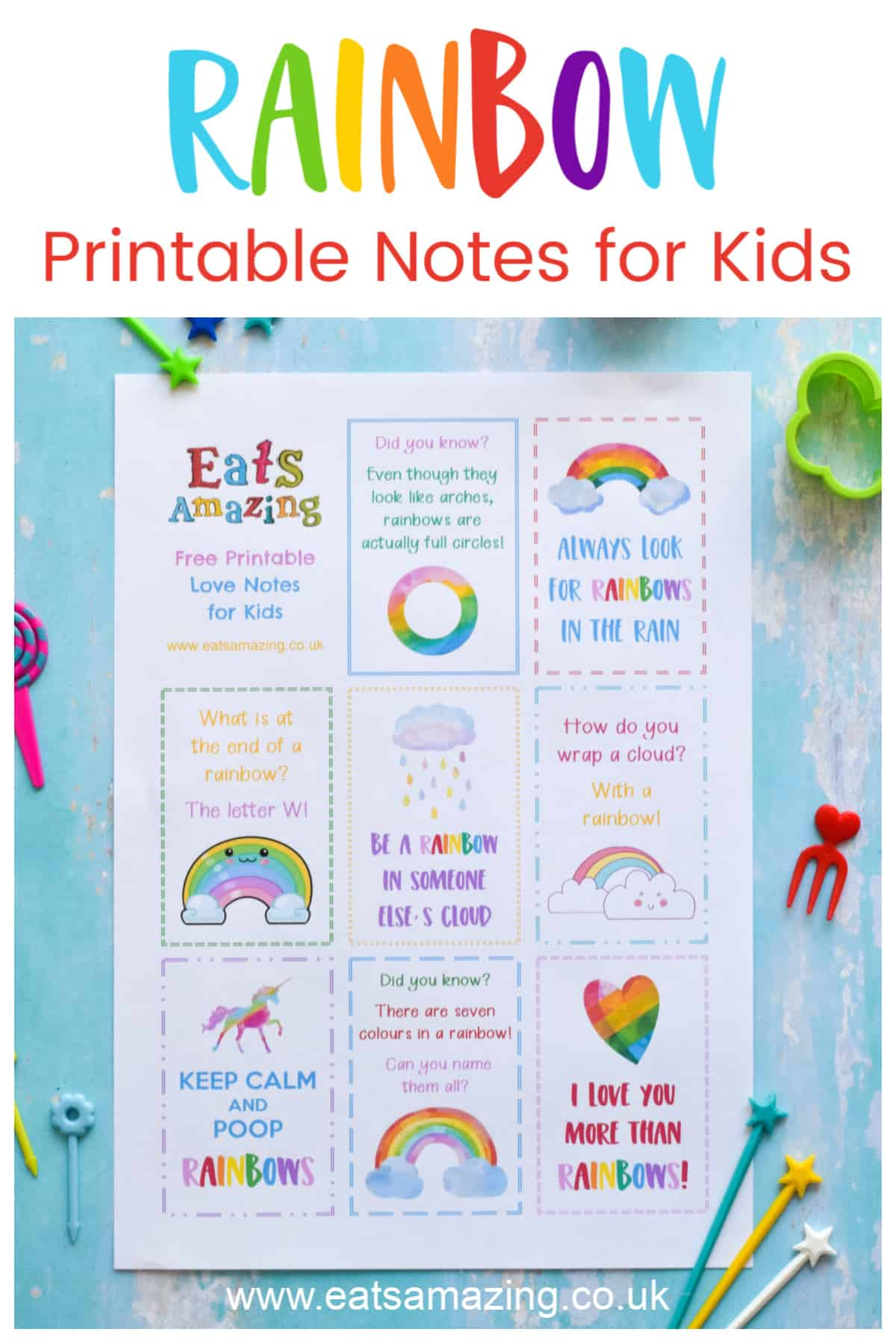 FREE Rainbow themed Printable lunchbox notes for kids - just download print and cut up for instant fun notes to pop in lunch boxes and school bags