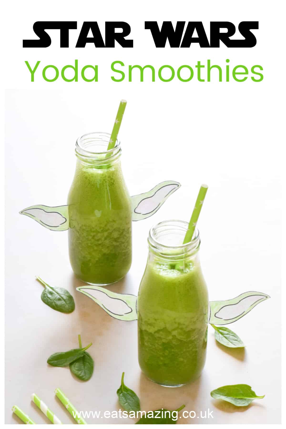 Fun and healthy Star Wars Themed Food - Green Yoda Smoothie Recipe with FREE printable Yoda ears