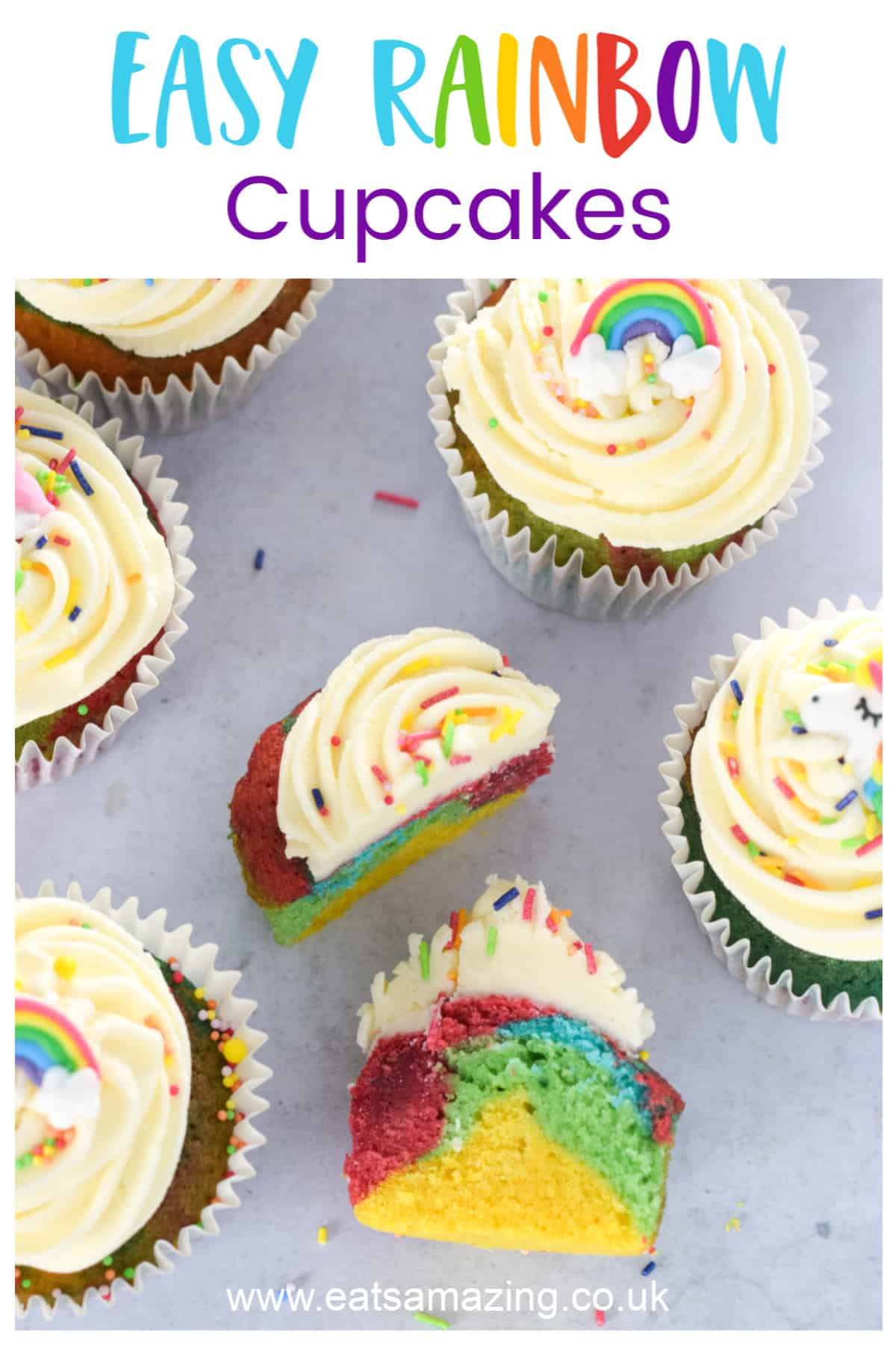 How to make easy rainbow cupcakes - fun baking recipe for kids
