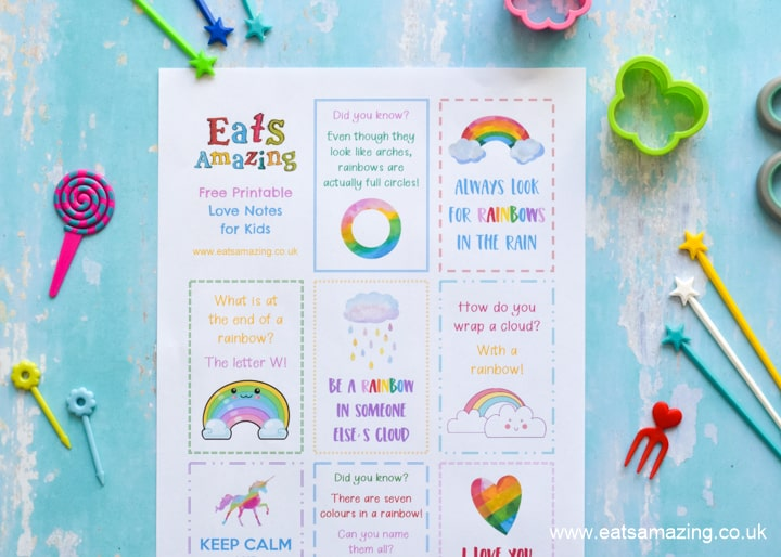 Kids will love these cute rainbow love notes - print your FREE copy then cut out and hide in lunch boxes school bags or around the house for a fun surprise
