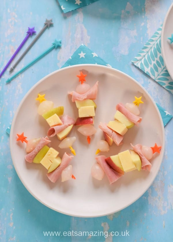 Quick and easy savoury skewer ideas - apple cheese ham and pickled onions