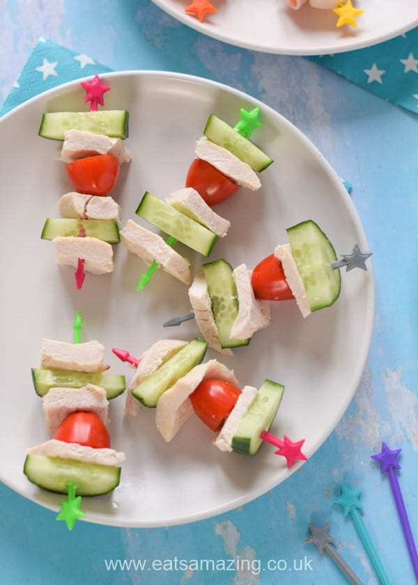 Quick and easy savoury skewer ideas - cucumber chicken and tomato