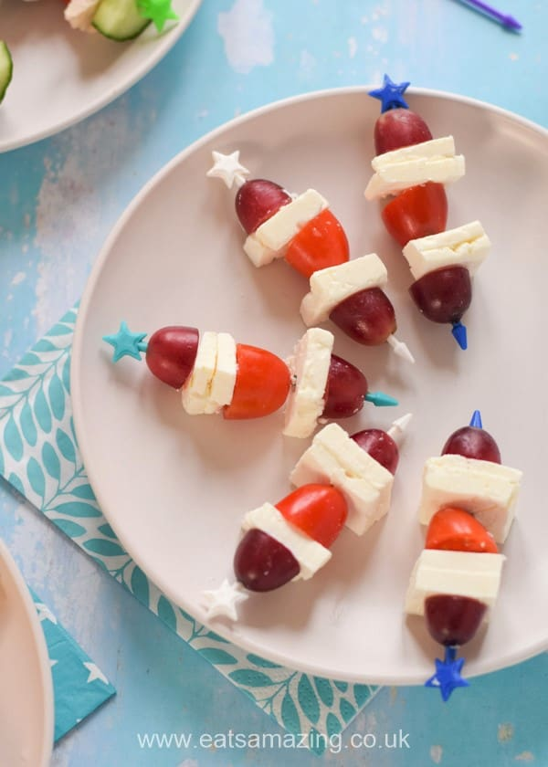 Quick and easy savoury skewer ideas - feta tomato and grape
