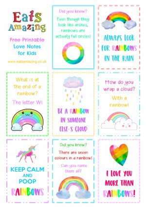 Rainbow FREE Printable Lunchbox Notes for kids - head to the blog post to download and print your own set