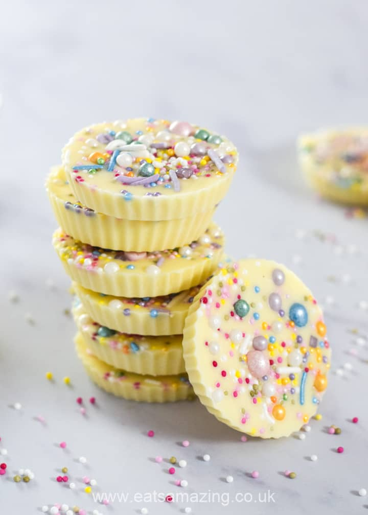 Easy gift recipe for kids - giant white chocolate jazzies with rainbow sprinkles