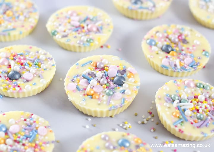 Gorgeous rainbow giant white chocolate jazzies - fun and easy treat recipe for kids