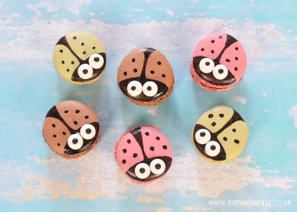 How to decorate cute ladybug macarons - Step 5 repeat with the remaining macarons