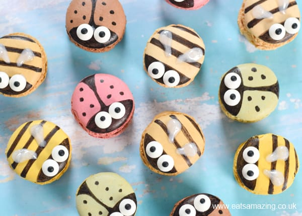 How to decorate macarons to turn them into bugs - with cute bee and ladybug designs