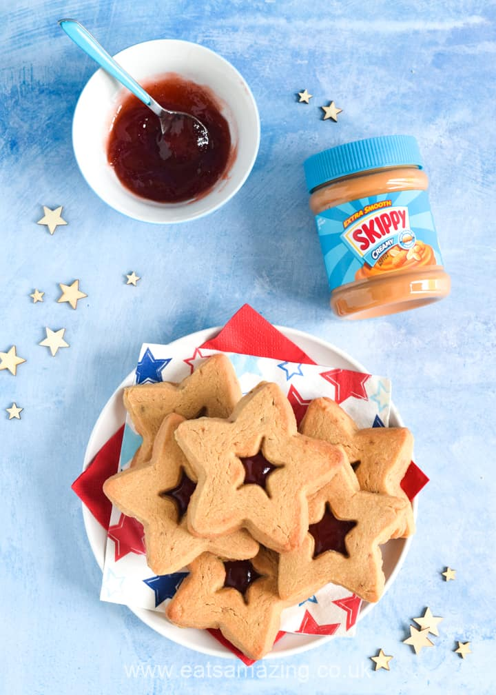 Fun peanut butter and jelly cookies recipe with SKIPPY peanut butter - star shaped for the 4th July