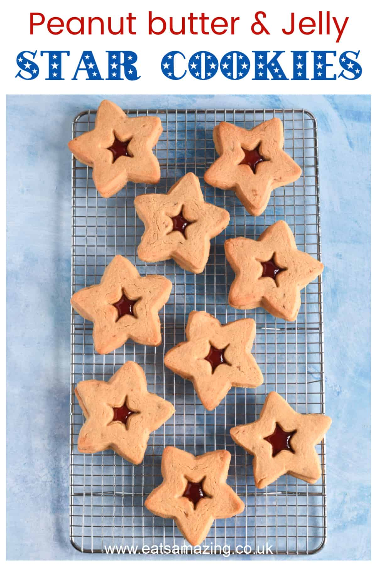 Fun star shaped peanut butter jelly cookies recipe - perfect make with kids for the 4th July