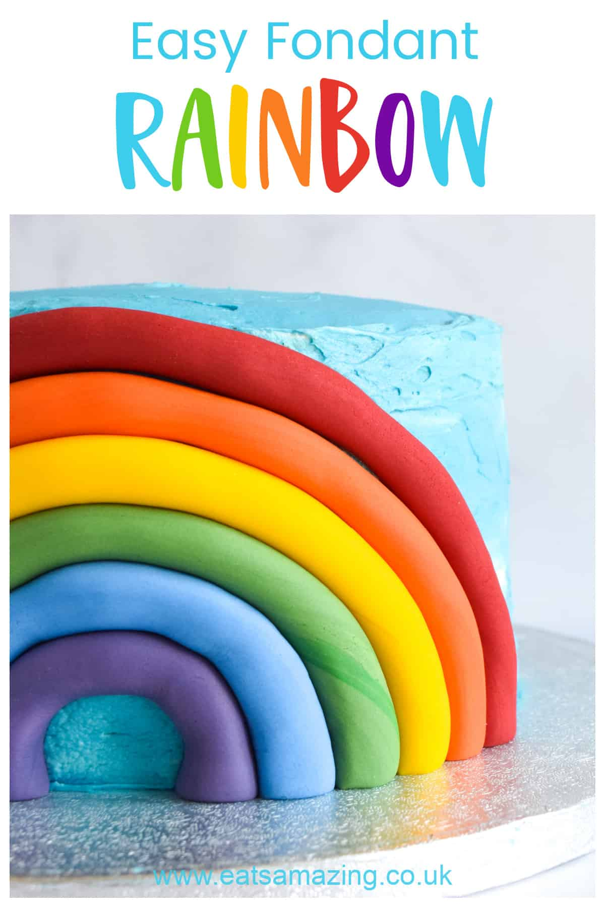 How to make a quick and easy fondant rainbow cake decoration - with step by step photo tutorial