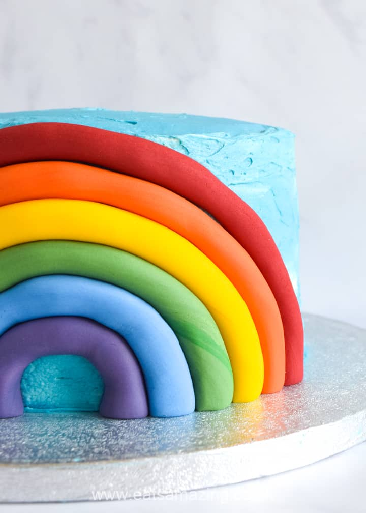 How to make an easy rainbow fondant cake decoration