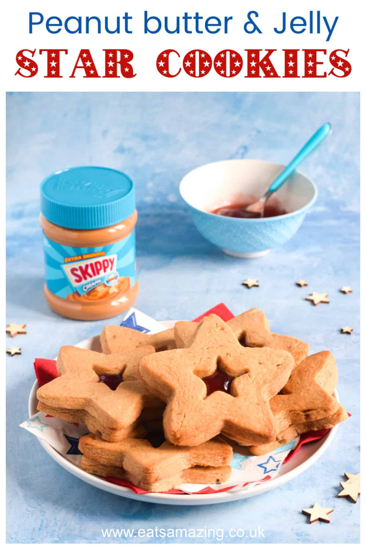 How to make peanut butter and jelly cookies - fun star shaped cookies to celebrate Independence Day with kids