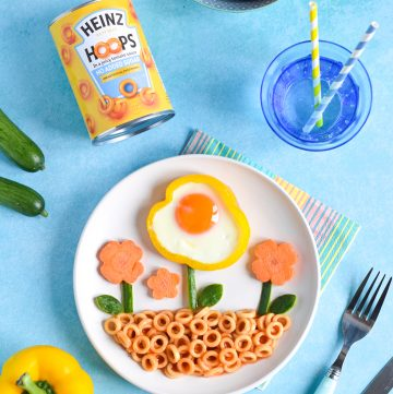 Cute Flower Egg in Pepper Ring Meal for Kids with Heinz Pasta No Added Sugar