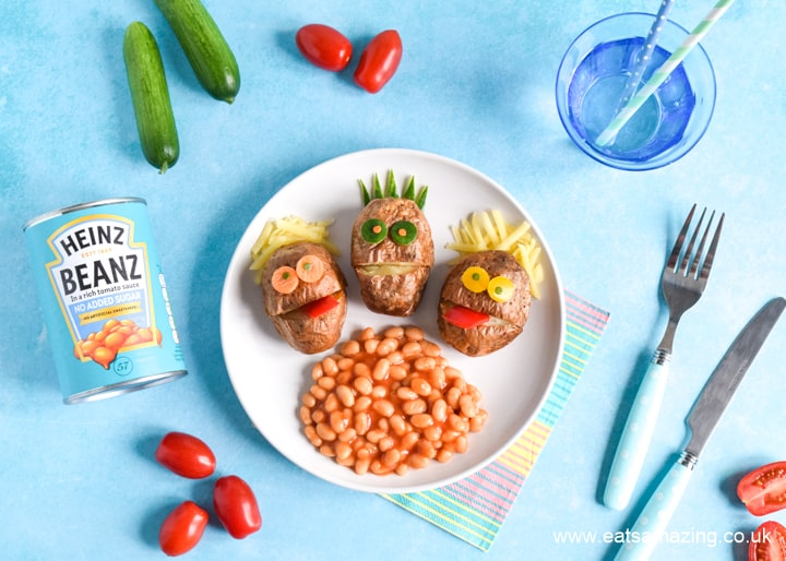 Cute and easy mini baked potato monsters recipe - fun after school meal idea for kids with Heinz Beanz No Added Sugar