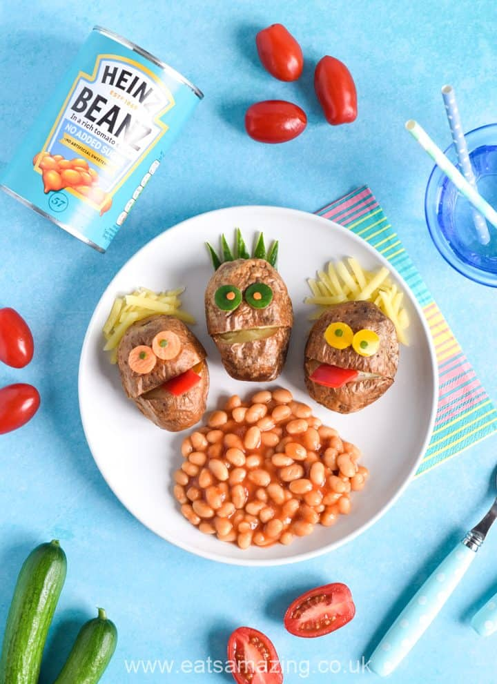 Cute mini baked potato monsters recipe - fun and easy meal idea for kids