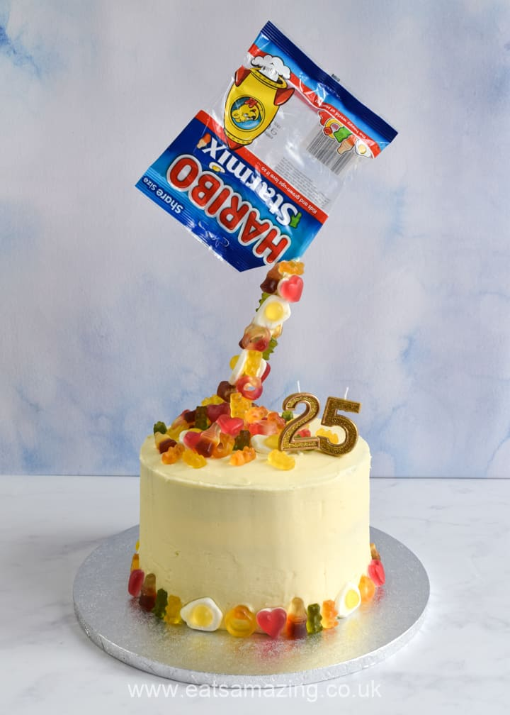 Fun and easy anti-gravity cake recipe with HARIBO Starmix - perfect for a kids birthday cake or party food