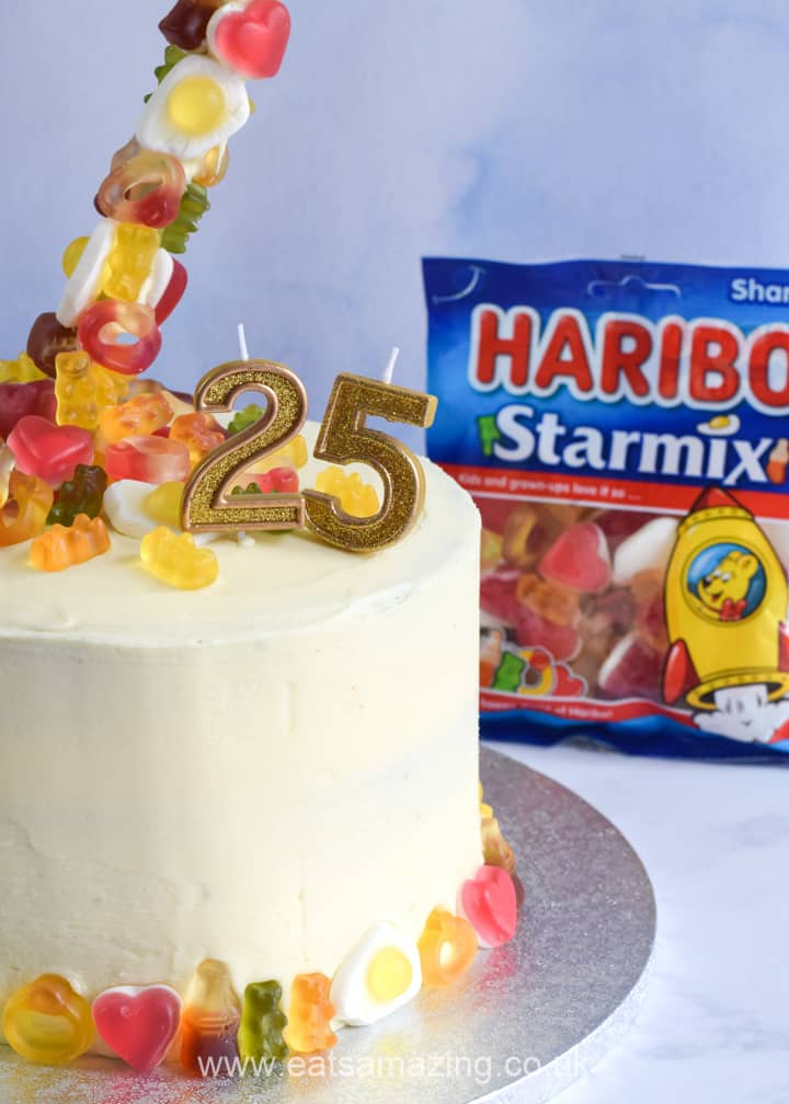 Fun anti-gravity cake recipe with HARIBO Starmix sweets - perfect for birthdays aniversaries and parties