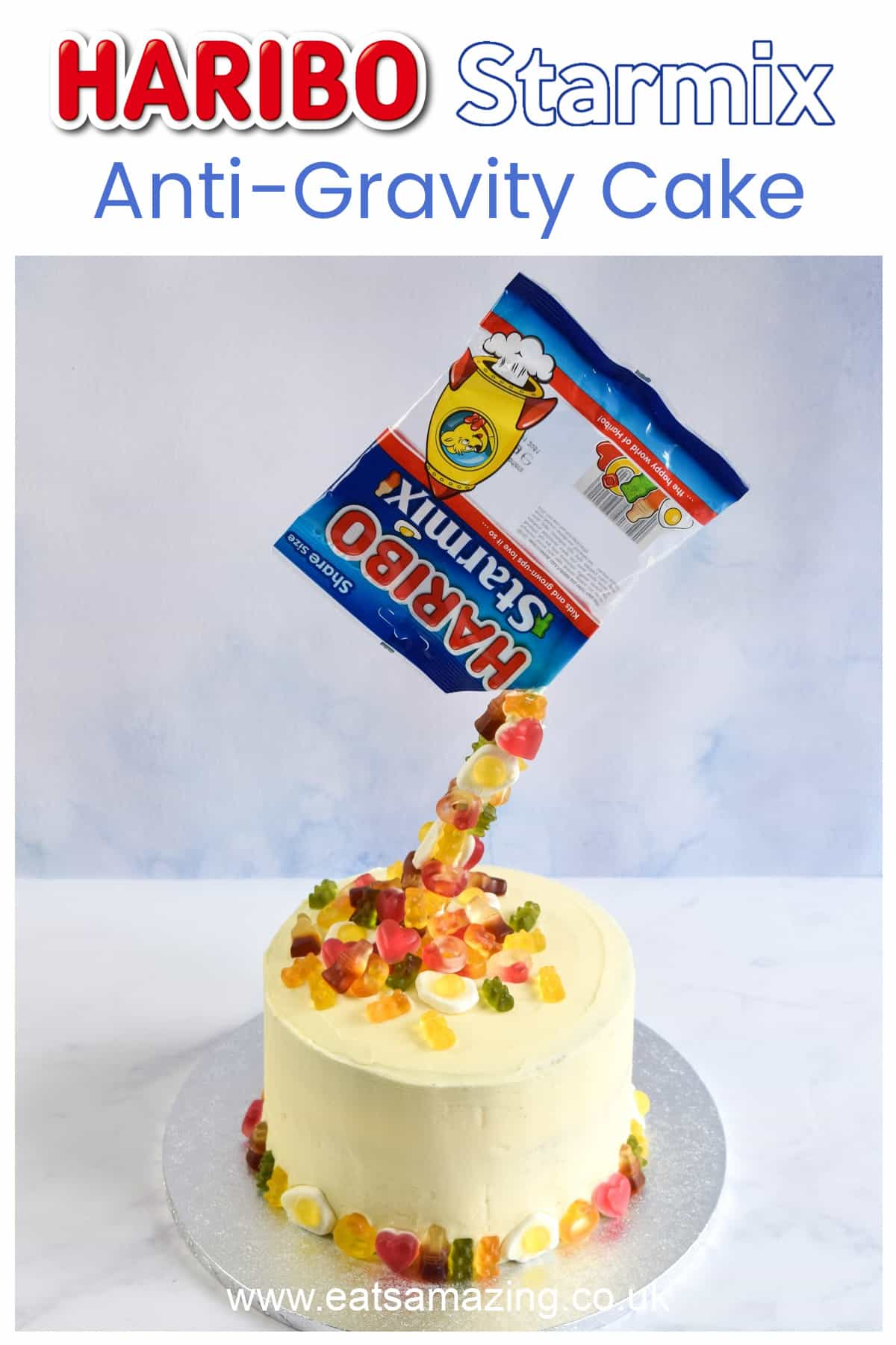 How to make an easy anti-gravity cake with HARIBO Starmix - Fun birthday cake idea for kids with recipe and video tutorial