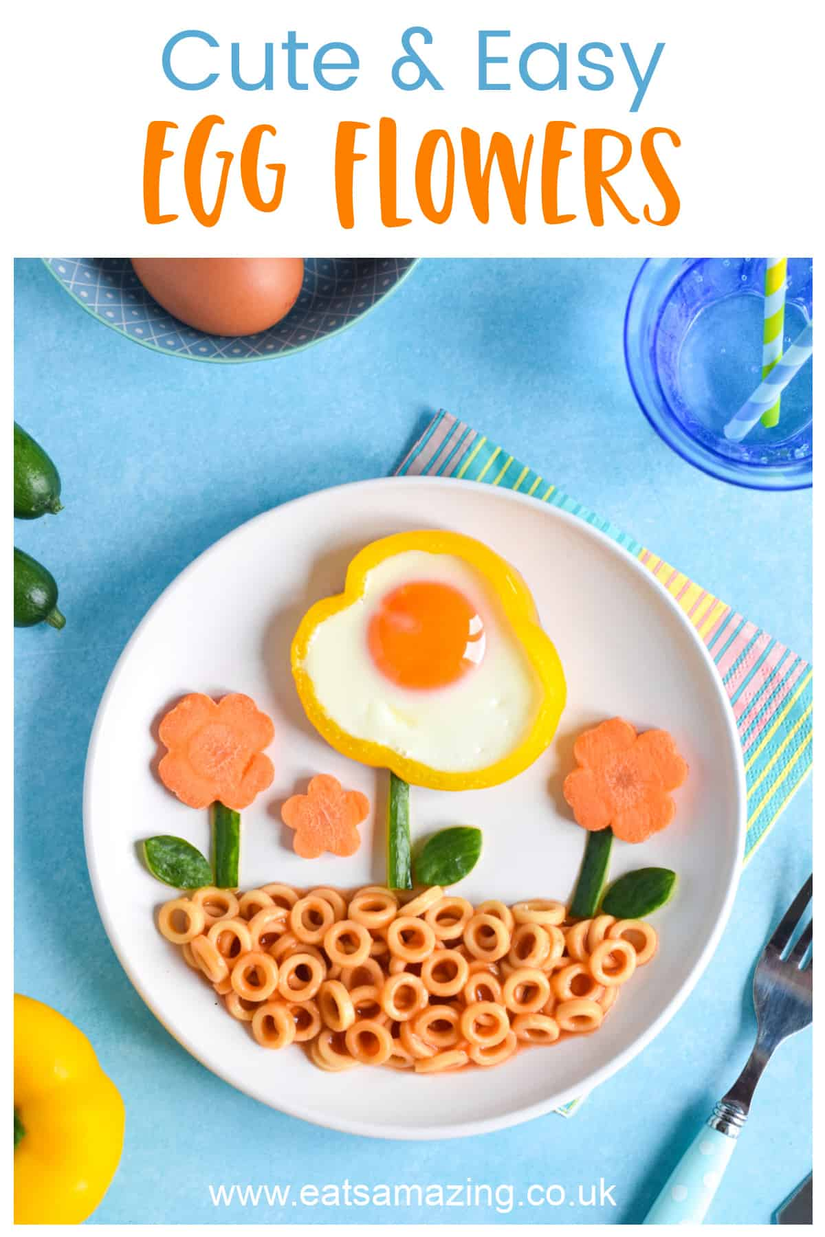 How to make cute and easy egg flowers in pepper rings - fun meal idea for kids with Heinz Pasta No Added Sugar