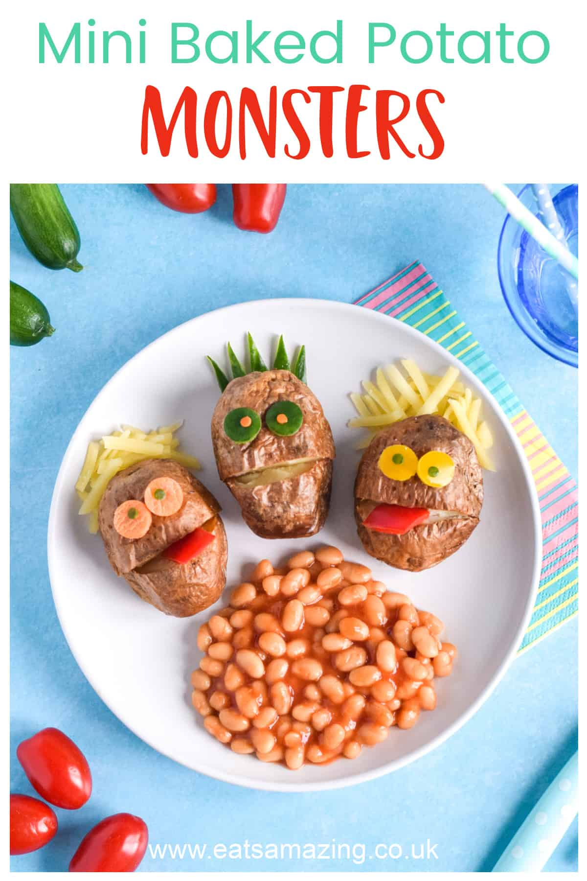 How to make fun and easy baked potato monsters - fun recipe for kids with Heinz Beanz No Added Sugar