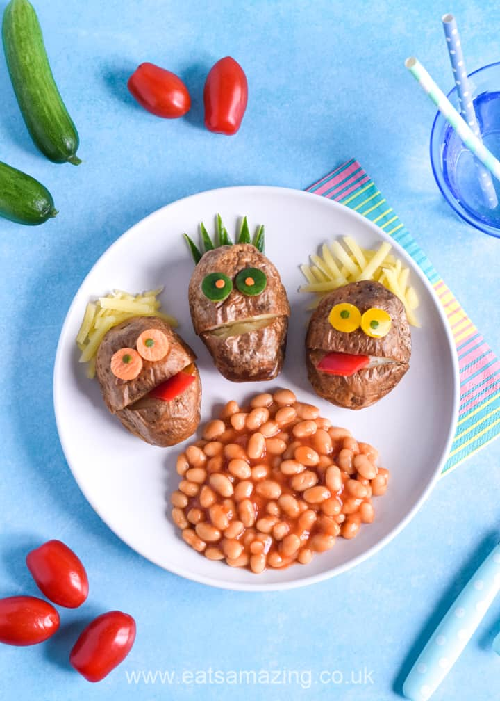 How to make mini baked potato monsters - fun food art plate for kids
