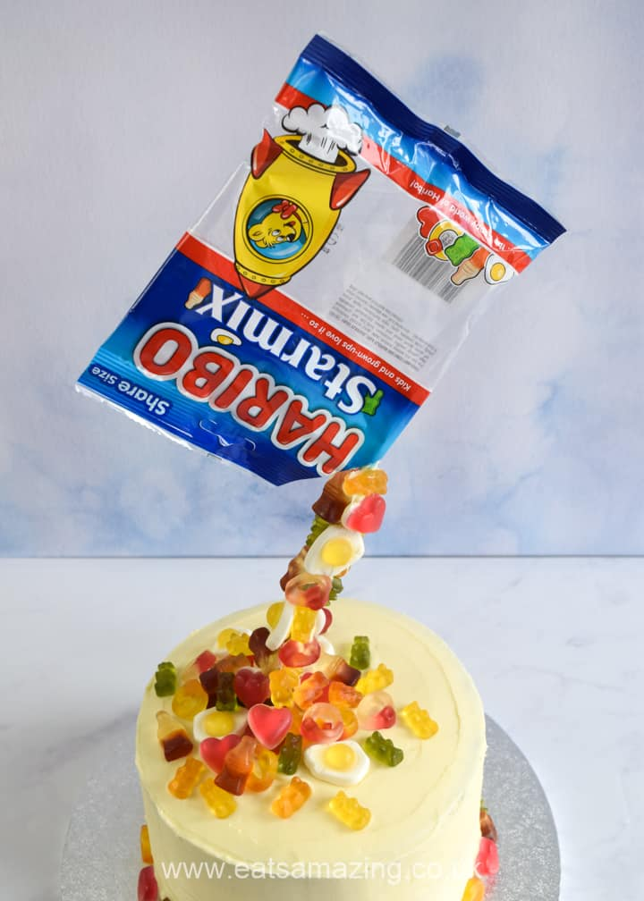 Super easy anti-gravity cake recipe with HARIBO Starmix sweets - full recipe and video tutorial