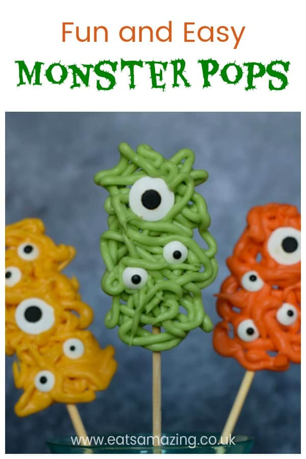 Fun and easy Halloween recipe for kids - candy melt monster pops with step by step photos