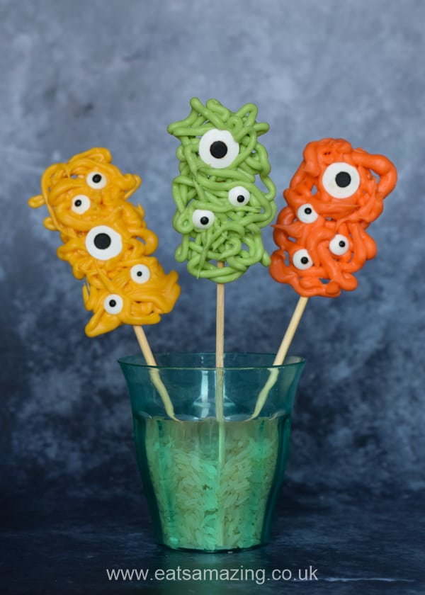 Fun and easy Monster Pops recipe for kids - cute homemade Halloween treat idea