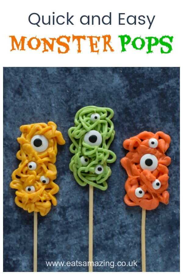 How to make easy chocolate Monster Pops for Halloween with candy melts - fun Halloween recipe for kids