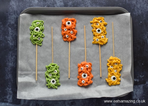 How to make easy chocolate monster pops for Halloween - step 4 chill in the fridge until set