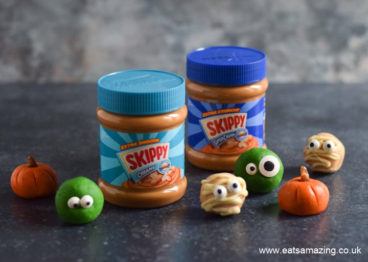 Cute Halloween themed peanut butter balls made with with SKIPPY Peanut Butter