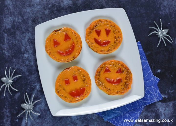 Cute Pumpkin Mini Halloween Pizzas recipe - fun Halloween food for kids