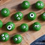 Cute and easy Halloween Monster Peanut Butter Balls recipe for kids