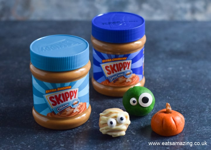 Cute and easy Halloween themed peanut butter balls made with with SKIPPY Peanut Butter