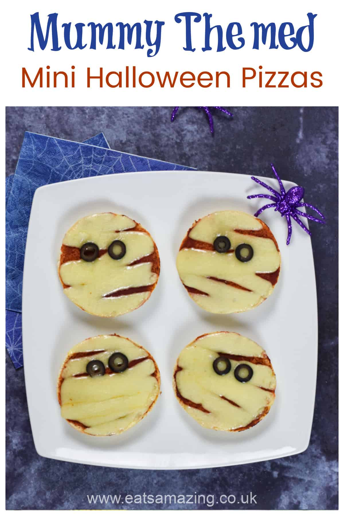 Cute and easy Mummy themed mini Halloween pizzas - fun Halloween party food for kids