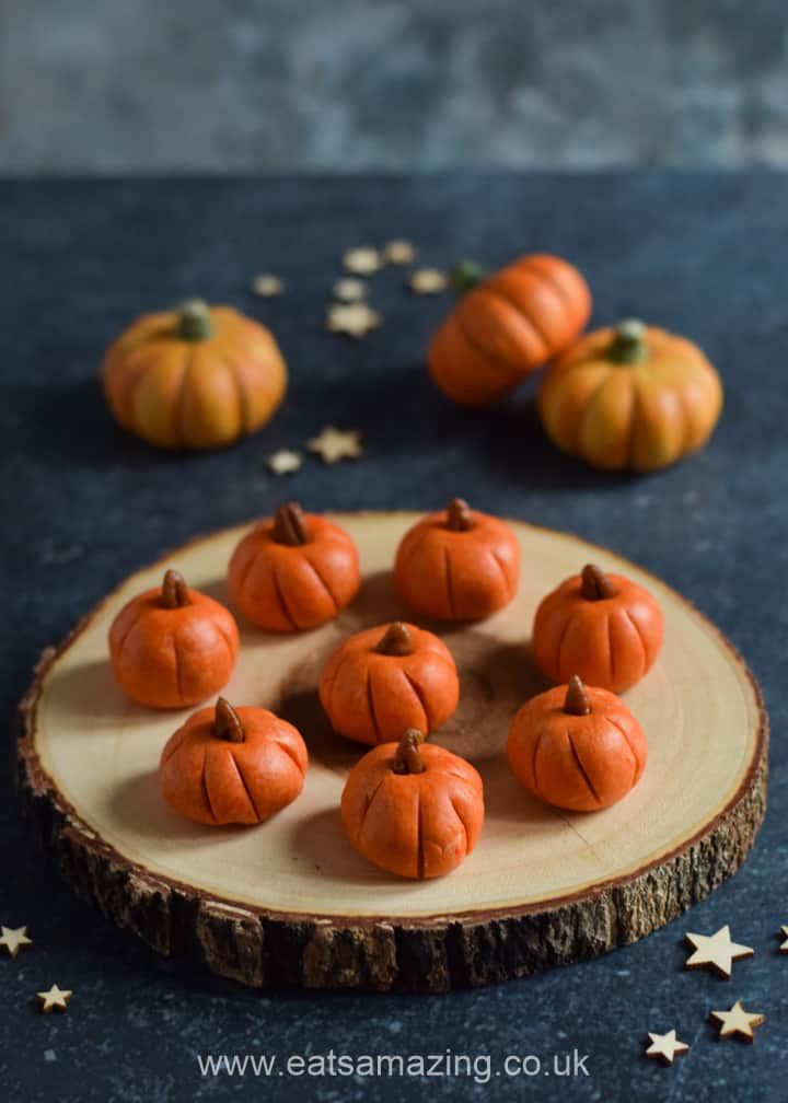 Cute and easy Pumpkin shaped peanut butter balls recipe - fun Halloween treat for kids