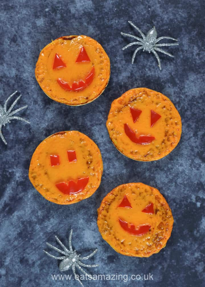 Cute and easy mini pumpkin pizzas - fun Halloween recipe for kids