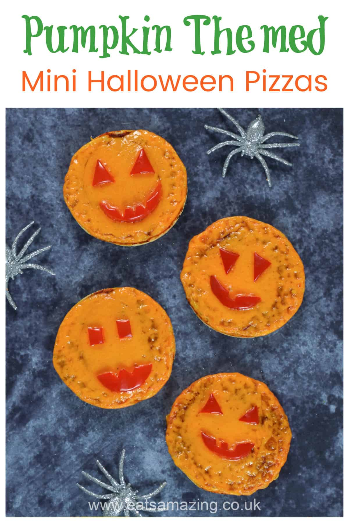 Cute easy pumpkin themed mini halloween pizzas recipe - fun Halloween party food for kids