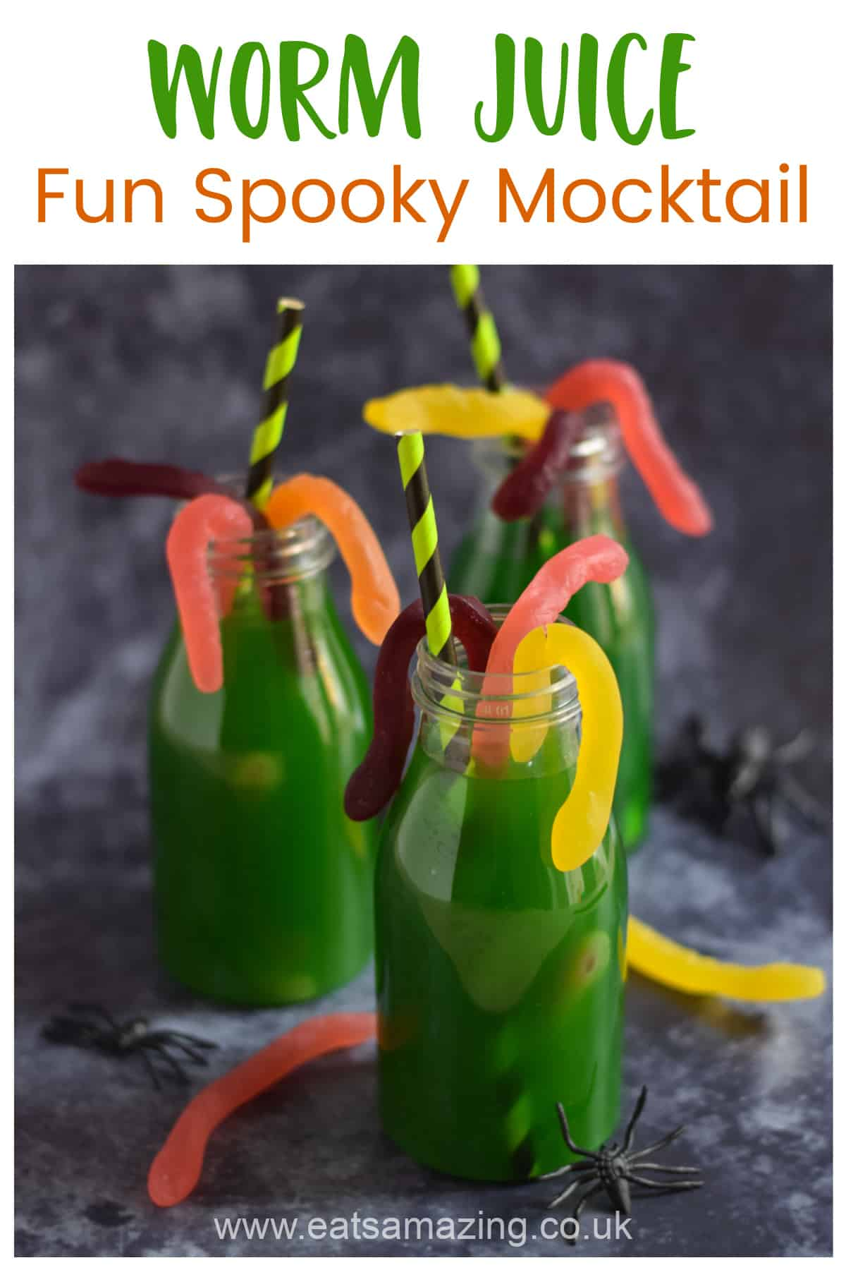 Fun and easy Halloween Mocktail for kids with fruit juice and gummy worms