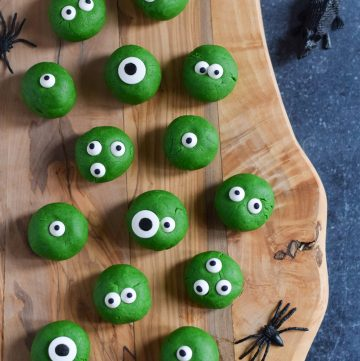 Fun and easy Monster Peanut Butter Balls recipe - cute Halloween recipe for kids