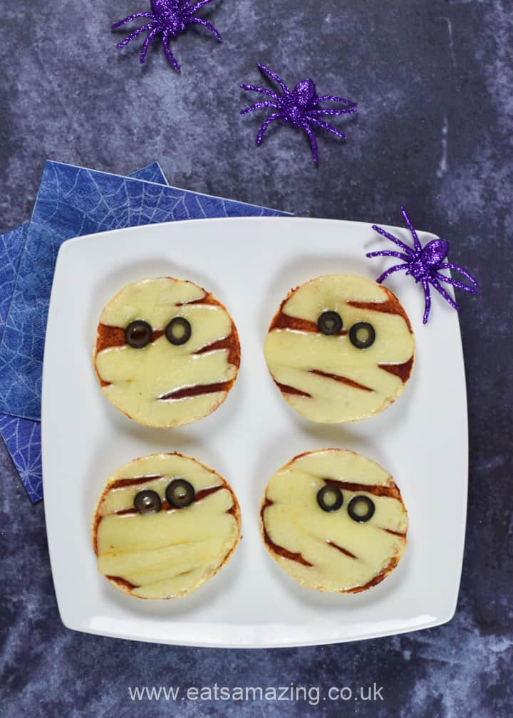 Fun and easy Mummy Pizzas recipe - healthy Halloween food for kids